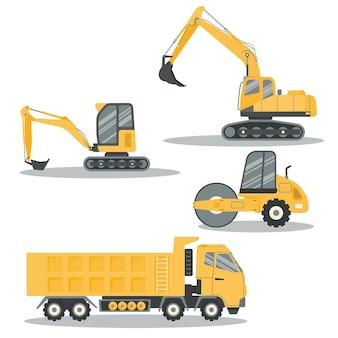 Pacote de escavadeira de design plano