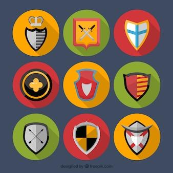 Pacote de escudo em círculos coloridos