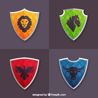 Pacote de escudos coloridos com animais