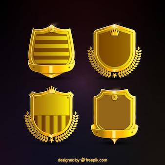 Pacote de escudos de ouro de luxo