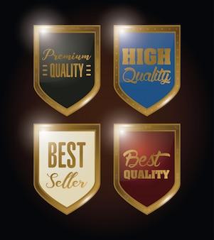 Pacote de escudos emblemas emblemas de ouro
