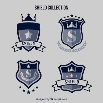 Pacote de escudos ornamentais no design plano