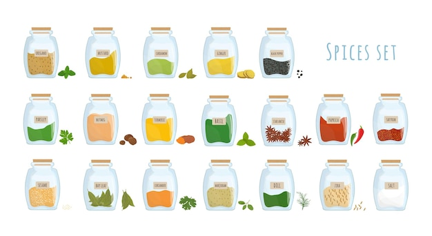 Pacote de especiarias armazenado em potes de vidro fechados, isolados no fundo branco. conjunto de condimentos picantes, ingredientes aromáticos para cozinhar em recipientes de cozinha transparentes. ilustração colorida do vetor.