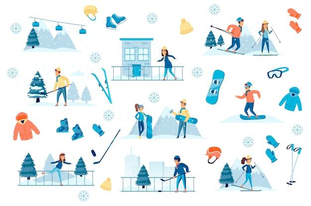 Pacote de esportes de inverno com kit de criador de cenas planas
