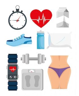 Pacote de estilo de vida saudável com ícones