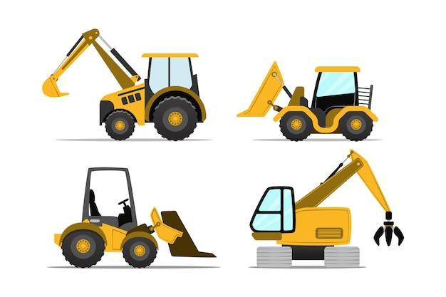 Pacote de estilo ilustrado de escavadeira