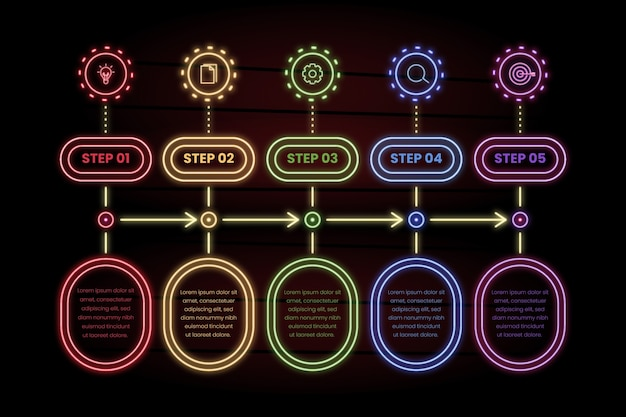 Pacote de etapas de infográfico de néon