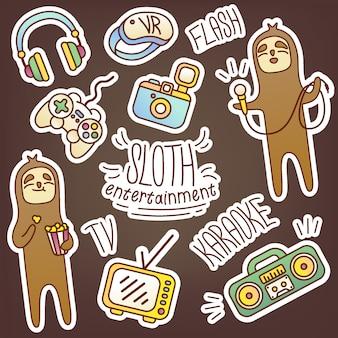 Pacote de etiqueta bonito com preguiça e tecnologia de entretenimento. fotos engraçadas para ilustrar vários eventos, design de diário. karaokê, fotografia, cinema, tv, videogame, realidade virtual, música.