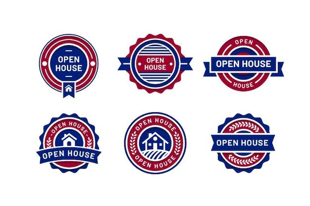 Pacote de etiqueta de casa aberta