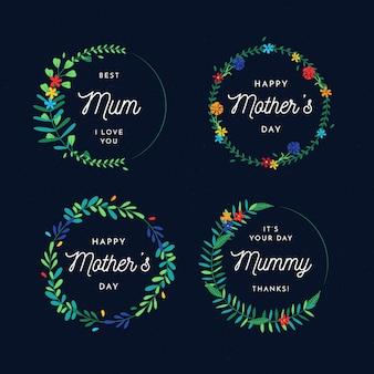 Pacote de etiqueta de dia das mães de design plano