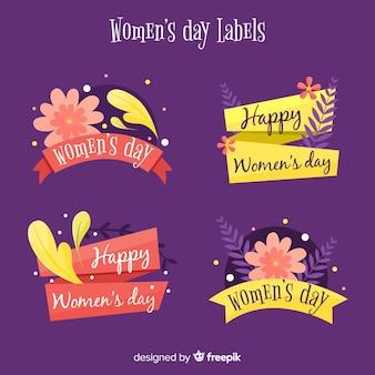 Pacote de etiqueta de dia floral feminino