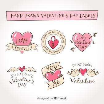 Pacote de etiqueta de mão desenhada dos namorados