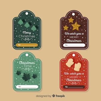Pacote de etiqueta de natal desenhada de mão