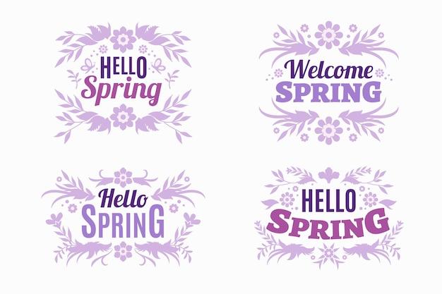 Pacote de etiqueta de primavera de design plano