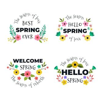 Pacote de etiqueta de primavera desenhada de mão