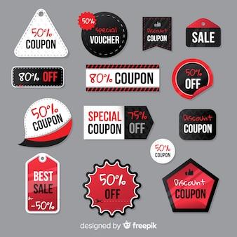 Pacote de etiqueta de venda de cupom criativo