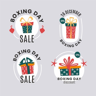 Pacote de etiqueta de venda de dia de boxe plana