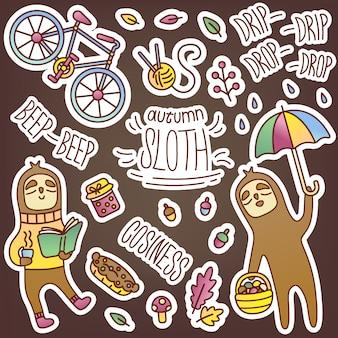 Pacote de etiqueta engraçada com preguiça no tema de outono. imagens sazonais fofas para decorar seu diário. ambiente acolhedor, entretenimento e hobbies, comida. inscrições legais. design de loja online.