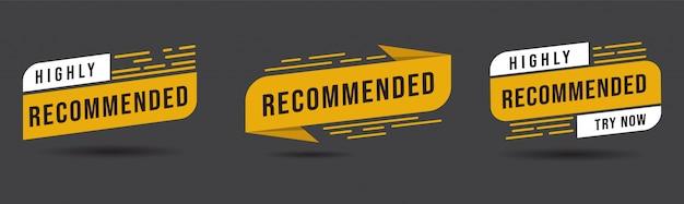 Pacote de etiqueta geométrica altamente recomendada ilustração de recomendação de boa escolha de banner para oferta de desconto de venda