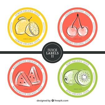 Pacote de etiquetas arredondadas com mão desenhada frutas