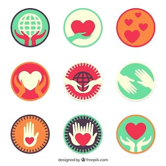 Pacote de etiquetas caridade planas coloridas