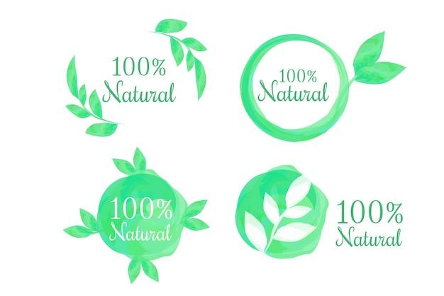 Pacote de etiquetas cem por cento natural