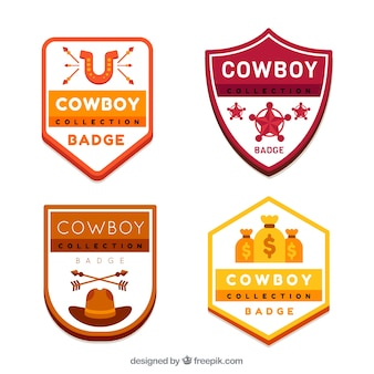 Pacote de etiquetas cowboy em cores diferentes