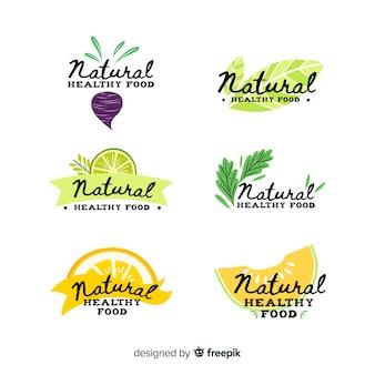 Pacote de etiquetas de alimentos frescos caligráficos