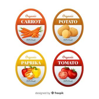 Pacote de etiquetas de alimentos orgânicos realistas