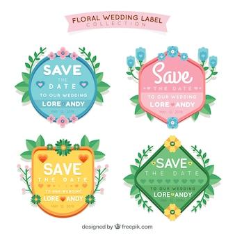Pacote de etiquetas de casamento coloridas Vetor grátis