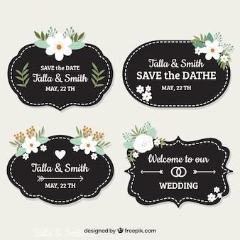 Pacote de etiquetas de casamento sombrias