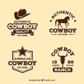 Pacote de etiquetas de cowboy