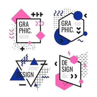 Pacote de etiquetas de design gráfico