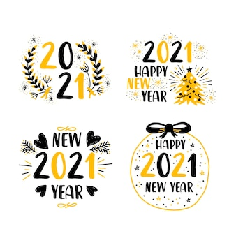 Pacote de etiquetas de design plano para o ano novo de 2021