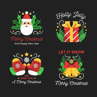 Pacote de etiquetas de feliz natal de design plano