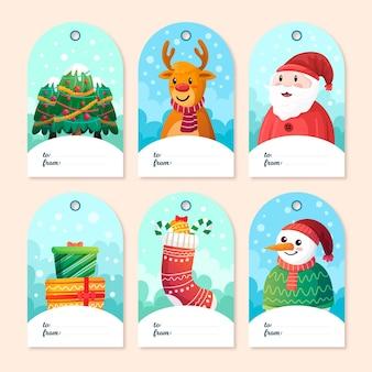 Pacote de etiquetas de feliz natal desenhado à mão