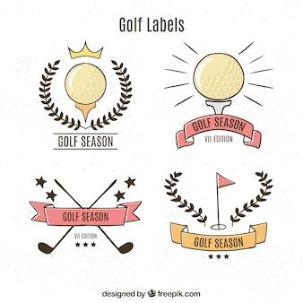 Pacote de etiquetas de golfe retro