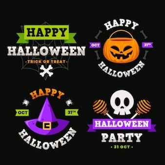 Pacote de etiquetas de halloween de design plano