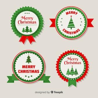 Pacote de etiquetas de natal arredondado