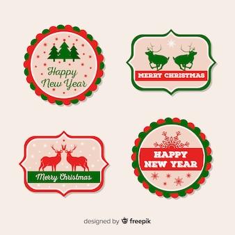 Pacote de etiquetas de natal de silhuetas planas