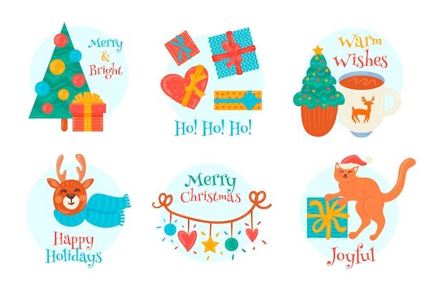 Pacote de etiquetas de natal desenhado