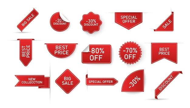Pacote de etiquetas de preço vermelhas com letras isoladas no fundo branco.