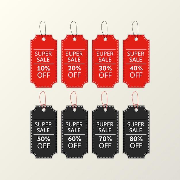 Pacote de etiquetas de preço vermelhas e pretas com letras.