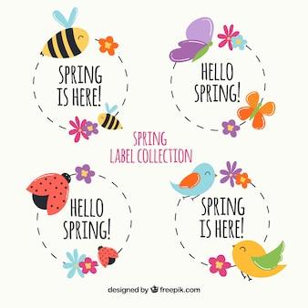 Pacote de etiquetas de primavera com animais
