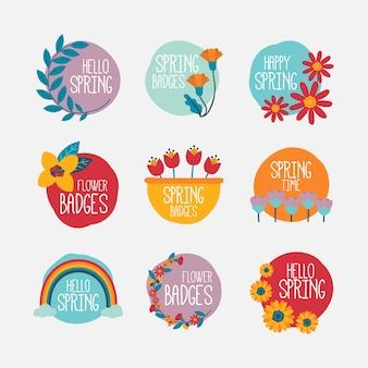 Pacote de etiquetas de primavera desenhada