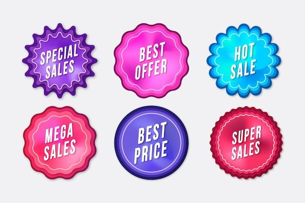 Pacote de etiquetas de promoção de vendas