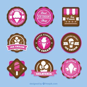 Pacote de etiquetas de sorvete com detalhes rosa