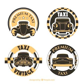Pacote de etiquetas de táxi velhos arredondados