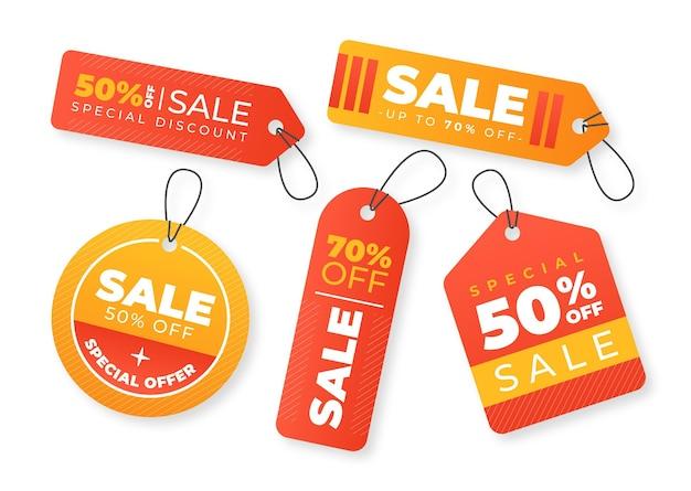 Pacote de etiquetas de venda de design plano