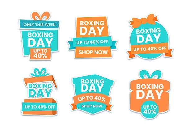 Pacote de etiquetas de venda de dia de boxe plano